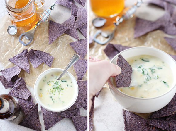 Two views of Fontina Cheese Dip with tortilla chips and beer.