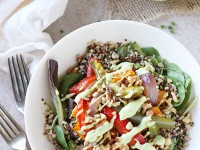 Roasted Rainbow Veggie Salad with Quinoa | cookiemonstercooking.com