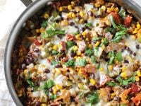 Skillet Mexican Brown Rice Casserole | cookiemonstercooking.com