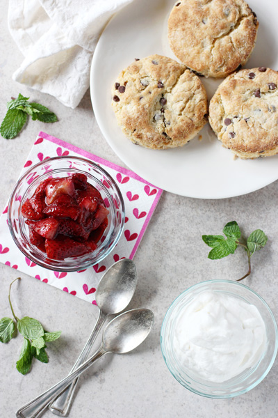 Chocolate Chip Roasted Strawberry Shortcakes | cookiemonstercooking.com