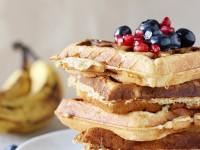 Peanut Butter Banana Bread Waffles | cookiemonstercooking.com