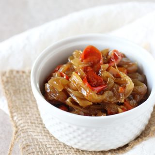 Slow Cooker Caramelized Onions and Peppers