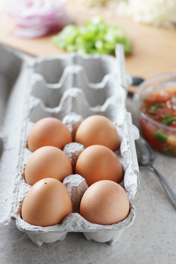 A carton of eggs with chopped veggies and salsa in the background.