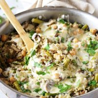 Skillet Spring Vegetable Brown Rice Casserole