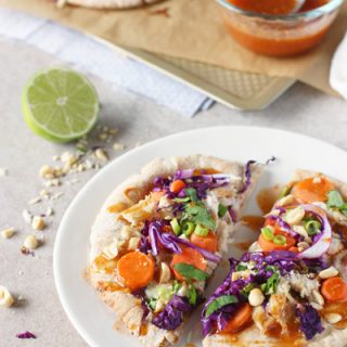 Thai Chicken Pita Pizzas | cookiemonstercooking.com