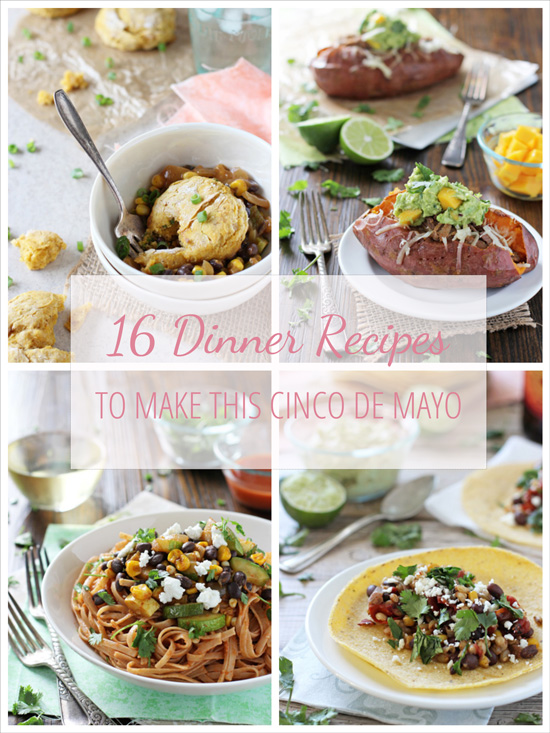 A collage of four photos of mexican inspired recipes.