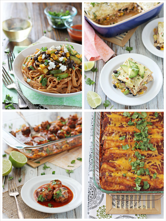 A collage of four photos of enchilada inspired recipes.