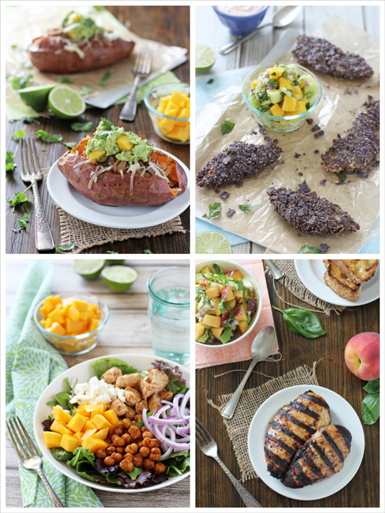 A collage of four photos of sweet and savory mexican recipes.