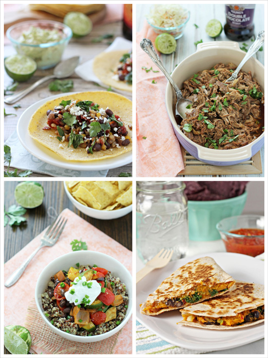 A collage of four photos of recipes to make this Cinco de Mayo.