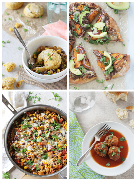 A collage of four photos of mexican inspired dishes.