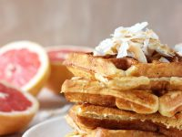 Recipe for grapefruit buttermilk waffles topped with toasted coconut. Freezer-friendly and perfect for spring!
