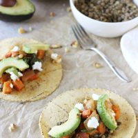 Lentil, Sweet Potato and Goat Cheese Tacos