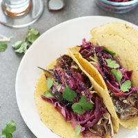 Slow Cooker Garlic Beef Tacos with Slaw
