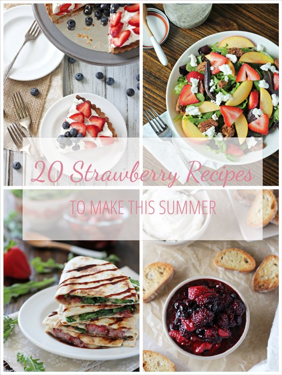 A collection of strawberry recipes to make this summer. Including breakfast ideas, main dishes, desserts and potluck ideas!