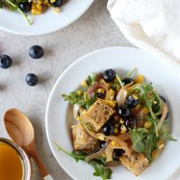 Blueberry Corn Panzanella with Maple Chipotle Dressing