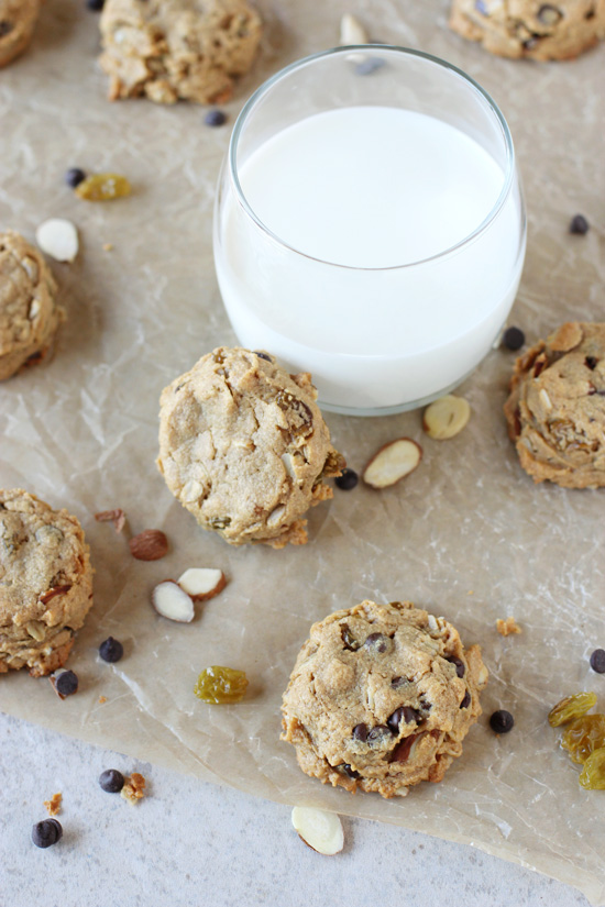Recipe for one-bowl, naturally sweetened flourless peanut butter trail mix cookies. Gluten-free and full of nuts, chocolate chips and raisins!