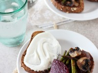Recipe for beet, mushroom and asparagus sandwich. With whipped goat cheese, plenty of roasted veggies and multigrain bread!