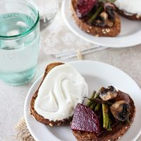 Roasted Beet, Mushroom and Asparagus Sandwich