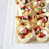 Strawberry, Cucumber and Mozzarella Phyllo Cups