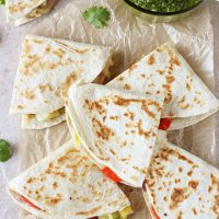 Thai Vegetable Quesadillas with Cilantro Pesto