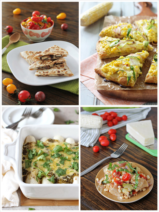 A collage of four photos of recipes featuring corn + cheese.