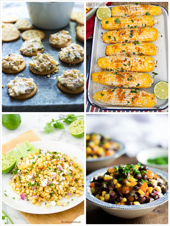 A collage of four photos of recipes including fresh corn.