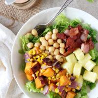 BBQ Sweet Potato, Chickpea and Bacon Salad