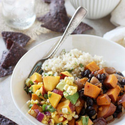 Chipotle Sweet Potato Burrito Bowls With Peach Salsa Cook Nourish Bliss