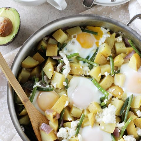 Potato, Green Bean and Goat Cheese Breakfast Skillet