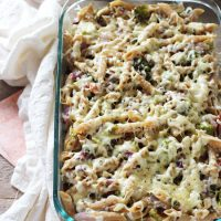Roasted Brussels Sprout and Bacon Baked Pasta
