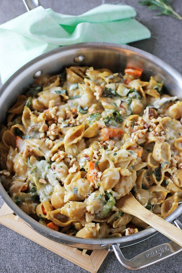 A stainless skillet filled with Creamy Butternut Squash Pasta.