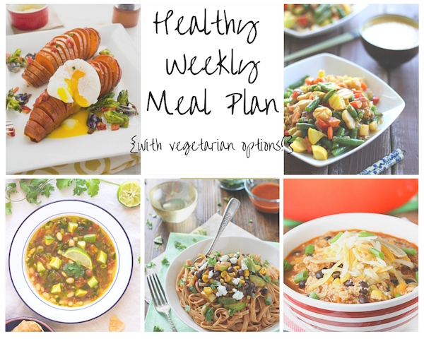 A healthy weekly meal plan with printable grocery list. Featuring southwestern stew, a veggie stir-fry and enchilada pasta!