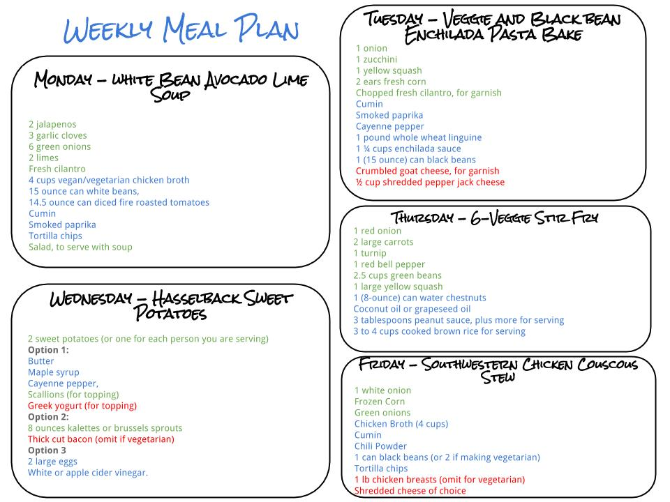 Healthy Weekly Meal Plan - 9 19 15 - Cook Nourish Bliss