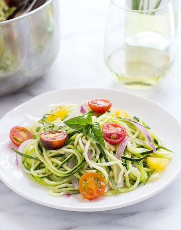 A white plate filled with One Pot Zucchini Pasta.