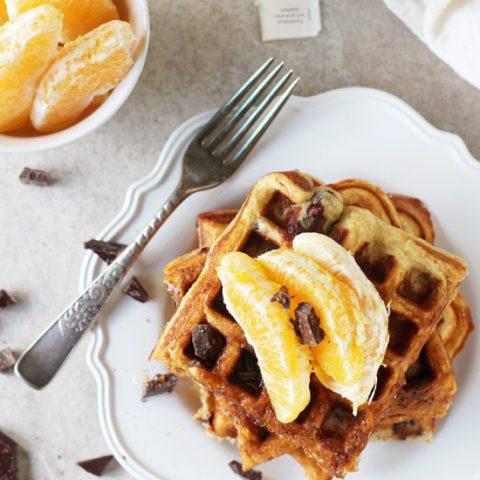 Orange and Dark Chocolate Waffles
