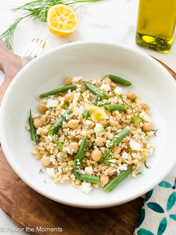 A white plate filled with Pearl Barley Salad.