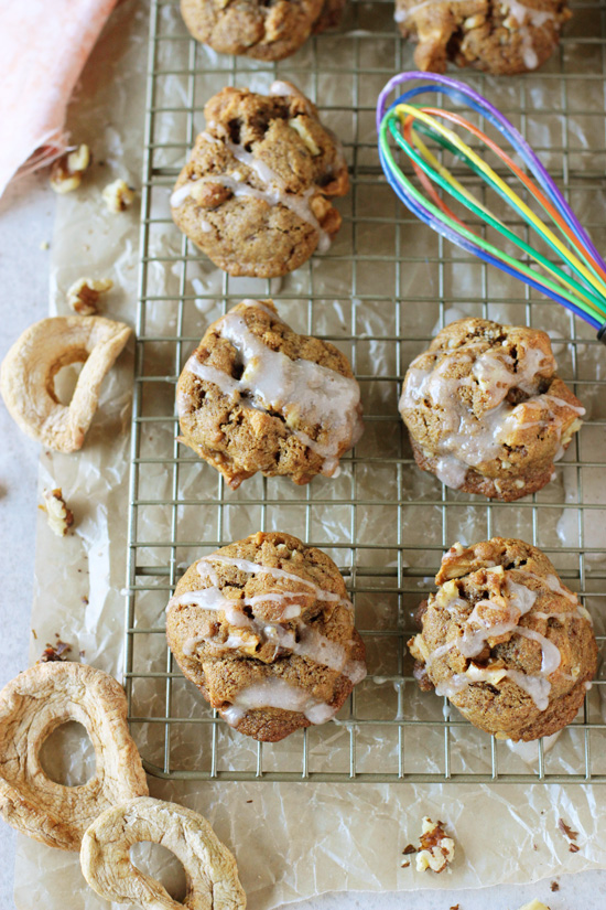 Recipe for spiced apple walnut coconut oil cookies. Chewy cookies perfect for fall! With plenty of spices, dried apples and walnuts! Dairy free!