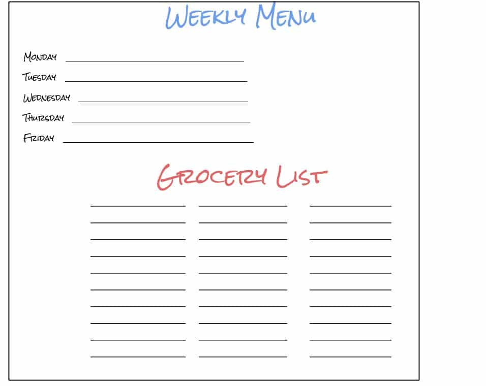 A PDF preview of a blank weekly meal plan.