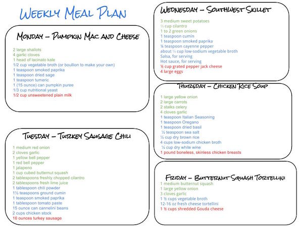 Healthy Weekly Meal Plan    Cook Nourish Bliss