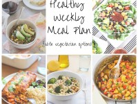 A healthy weekly meal plan with printable grocery list. Featuring enchiladas, lemon pasta and taco salad!