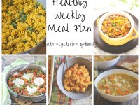 A healthy weekly meal plan with printable grocery list. Featuring chili, pumpkin pasta and an easy sweet potato skillet!