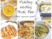 A healthy weekly meal plan with printable grocery list. Featuring yellow curry, creamy pasta and butternut squash soup!
