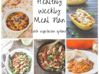 A healthy weekly meal plan with printable grocery list. Featuring minestrone soup, spaghetti squash and a roasted veggie salad!