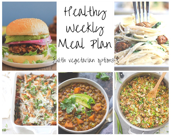 A healthy weekly meal plan with printable grocery list. Featuring baked ziti, veggie burgers and farro fried rice!
