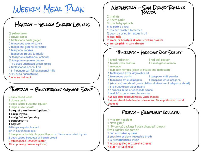 Healthy Weekly Meal Plan Grocery List – 10.24.15