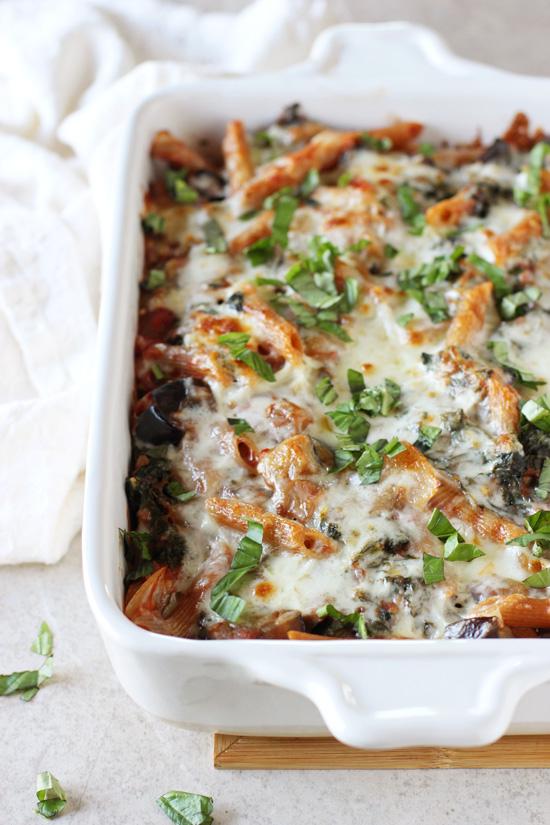 Kale and Eggplant Baked Ziti