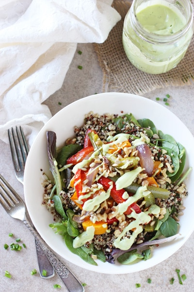 A white bowl filled with Roasted Rainbow Veggie Salad with Quinoa.