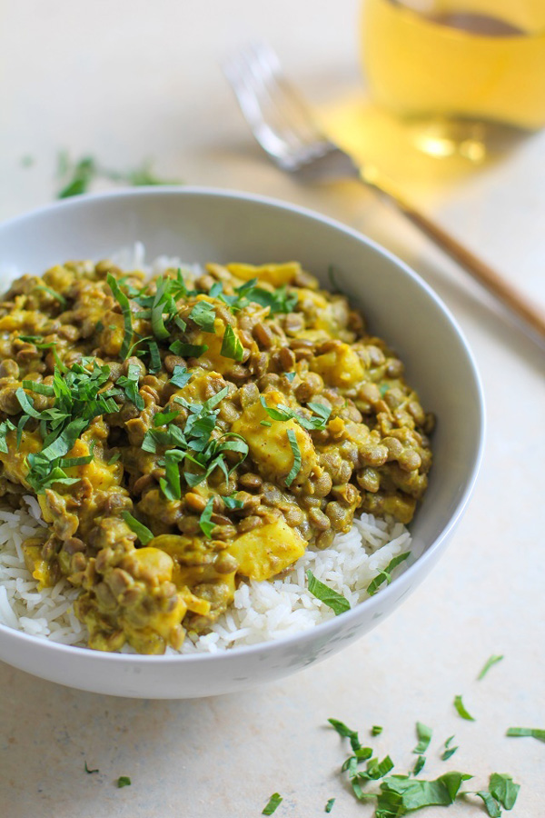 Yellow Curry Lentils and Halloumi