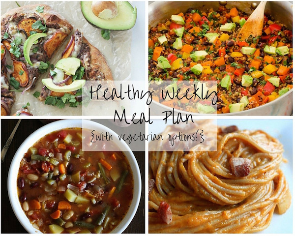 A collage of four photos of recipes in this week's meal plan.