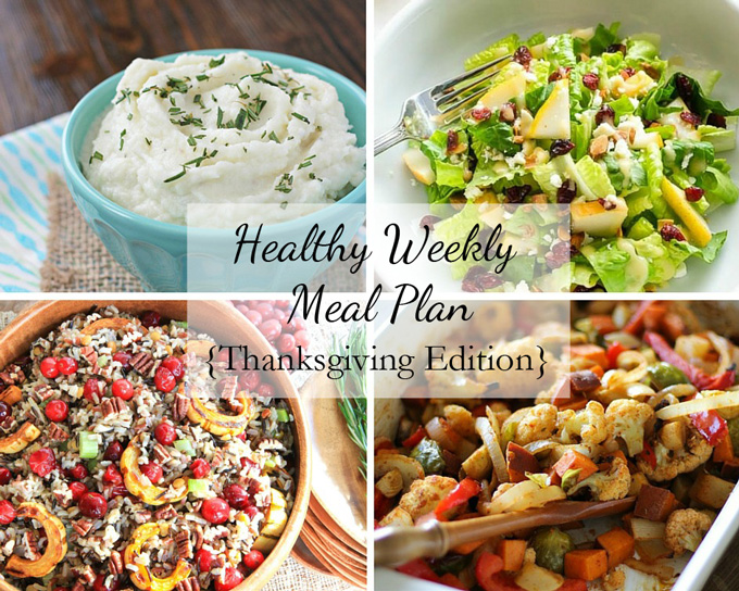 A collage of four photos of recipes in this week's healthy meal plan.
